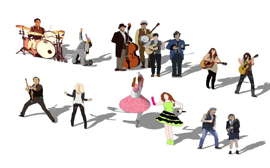 2D音乐人物组合SU模型