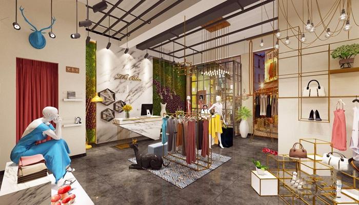 现代服装店 现代商业零售 女装 收银台 模特 人物 吊灯 衣服 服装 墙饰