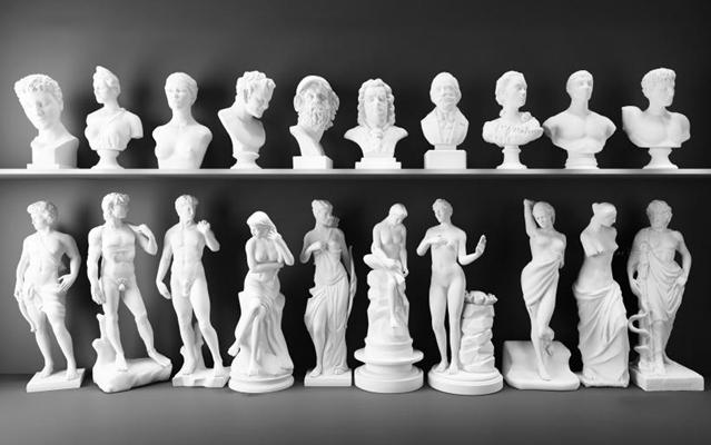 石膏雕像组合 石膏 浮雕人物 大卫 阿格里巴 伏尔泰 海盗 凯撒大帝 马赛曲 断臂维纳斯