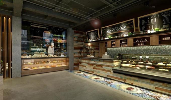 创意欧式面包店 面包店 蛋糕 前台 货架 面包 休闲桌椅