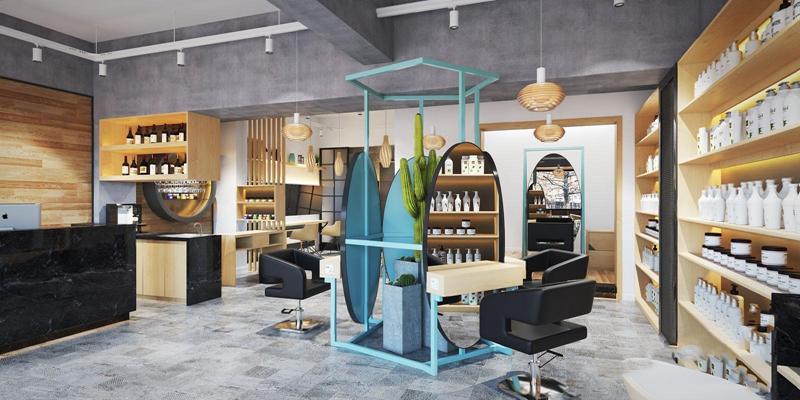 现代理发美容店 现代商业零售 美容院 吊灯 椅子 收银台 壁柜 洗护用品 吧台 绿植