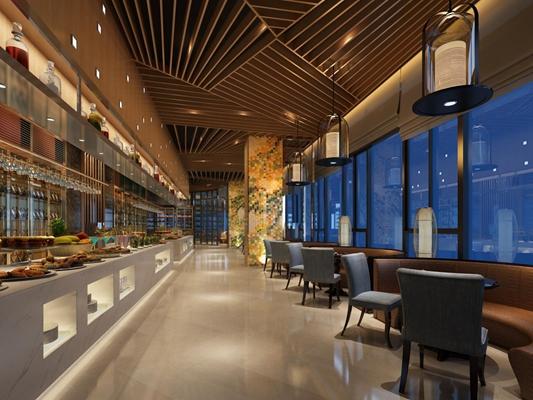 现代自助餐厅 酒店餐厅 卡座 桌椅 吊灯 餐台