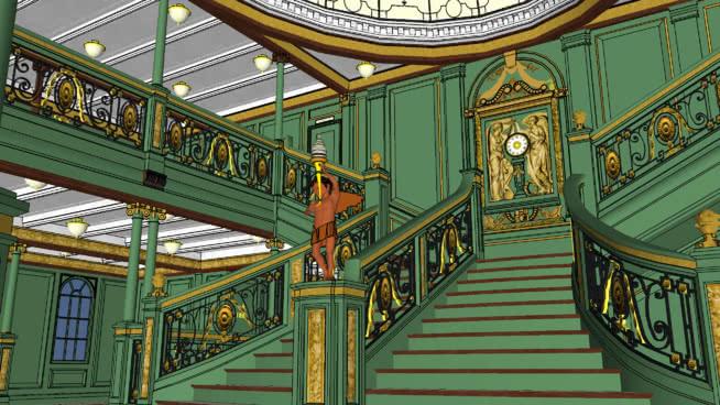 R.M.S.奥林匹克大阶梯1930时代绿色涂料 楼梯 游乐场 楼梯扶手 室外 螺旋形