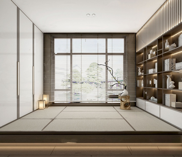 中式禅意榻榻米书房3d模型
