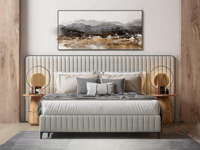 现代轻奢双人床组合 现代双人床 床头柜 台灯