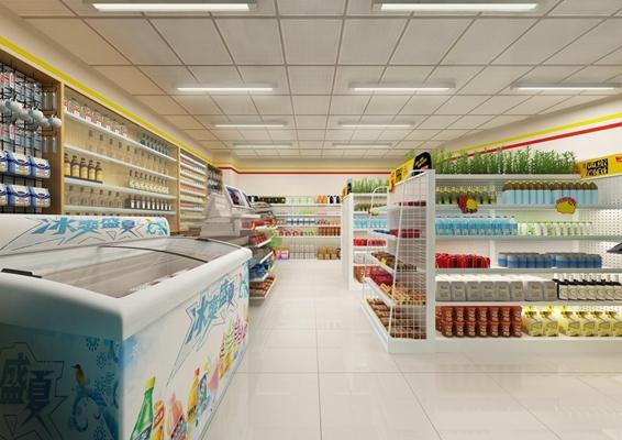 联合超市 便利店 冰箱 货架 收银机
