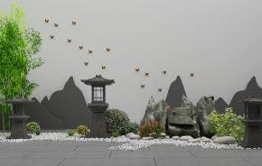 新中式假山石灯组合3D模型