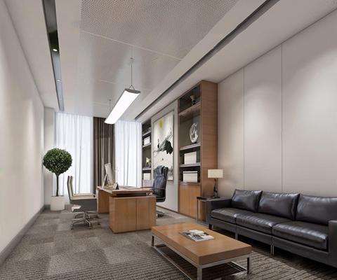 高管办公室 现代办公室 办公桌 办公椅 皮质多人沙发 茶几 吊灯