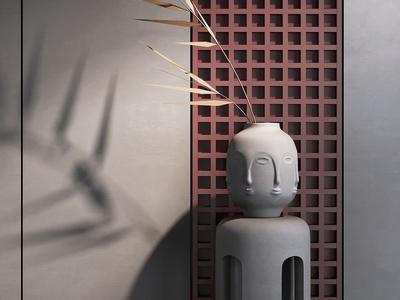 新中式陶罐花瓶雕塑3d模型