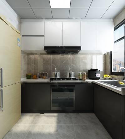 现代厨房3D模型 橱柜 油烟机