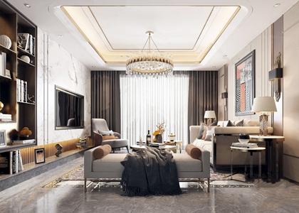现代轻奢客厅 现代客厅 多人沙发 转角沙发 地毯 抱枕 茶几 单人椅 边柜 花瓶 台灯 装饰画 摆件