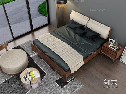 北欧床具 北欧床具 双人床 床头柜 落地灯 凳子 茶几 摆件 地毯