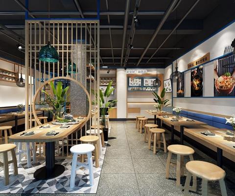 新中式餐厅 新中式餐饮空间 中餐 参会奏议 凳子 卡座 木隔断 单头吊灯