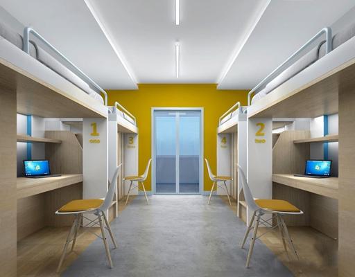 现代寝室 学校宿舍 寝室 上下铺 书桌 椅子 电脑