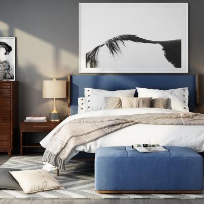 新中式布艺双人床3d模型