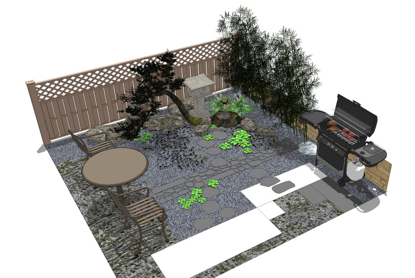 日式小庭院SU模型