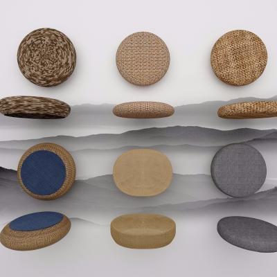 中式蒲团坐垫组合3D模型