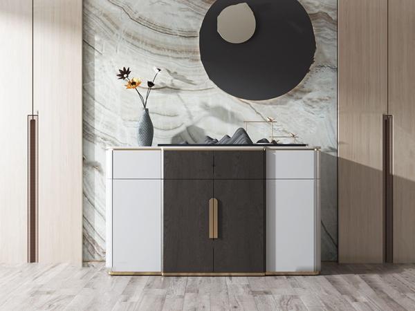 新中式实木端景柜3d模型