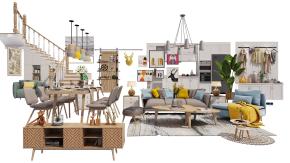 北欧沙发餐桌椅楼梯电视柜橱柜鞋柜组合3D模型