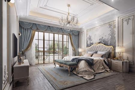 簡法臥室 法式臥室 雙人床 床頭柜 電視柜 床尾凳 水晶吊燈 臺燈 燭臺 窗簾 地毯 飾品擺件