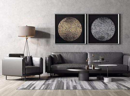 现代皮具沙发组合 现代双人沙发 皮具沙发 单人沙发 圆茶几 落地灯 挂画 地毯 烛台 摆件 地毯