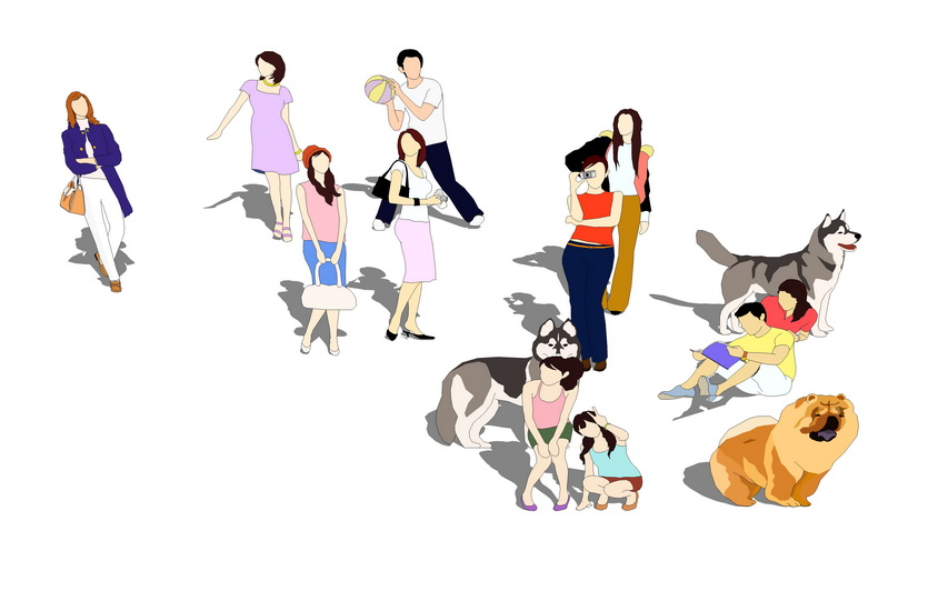 2D人物动物组合SU模型