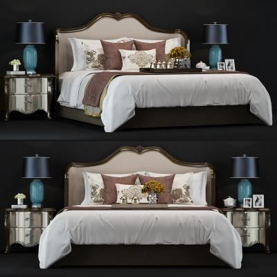美式双人床 3D模型
