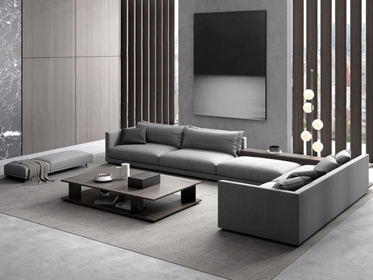 现代沙发组合 现代组合沙发 茶几 落地灯 布艺沙发 转角沙发 床尾凳 摆件 挂画 背景墙 地毯