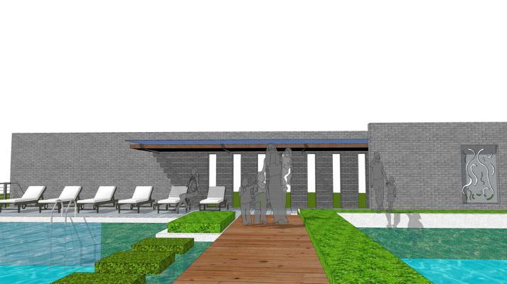 游泳池景观SU模型