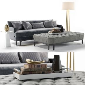 现代布艺沙发沙发凳摆件组合3D模型