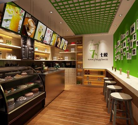 时尚创意奶茶店 现代奶茶店 吧椅 储物柜 显示屏 展示柜 装饰柜 照片墙