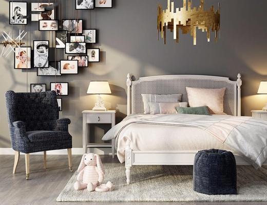 简欧床具椅子 简欧双人床 椅子 吊灯 挂画 台灯 床头柜 脚凳