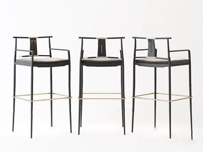 新中式靠背吧椅3d模型