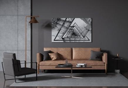 现代皮革沙发组合 现代沙发茶几组合 双人沙发 单人沙发 茶几 边几 落地灯 圆几 挂画 黄皮沙发