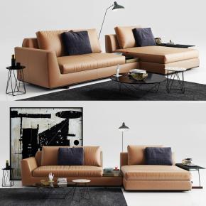 现代皮革转角沙发茶几边几摆件组合3D模型