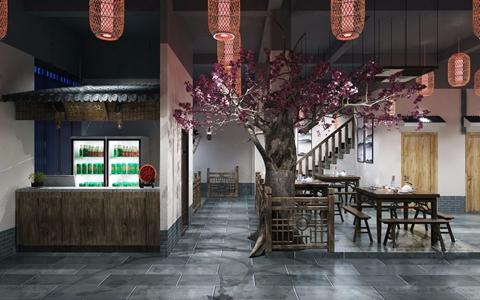 中式特色风格餐馆 中式餐饮空间 方桌 长凳 栏杆 树 前台 灯笼 食物摆台 缸