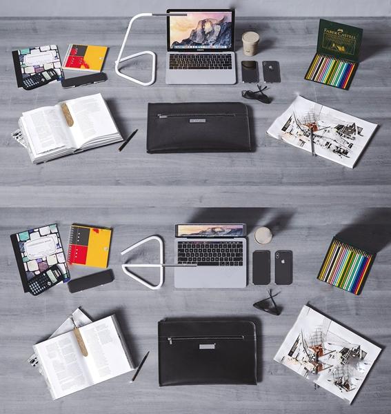 现代苹果电脑手机台灯办公用品组合