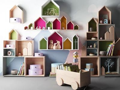 儿童公仔玩具架 现代装饰架 公仔 玩具 娃娃 书籍 摆件