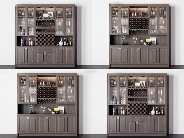 新中式实木酒柜组合3d模型