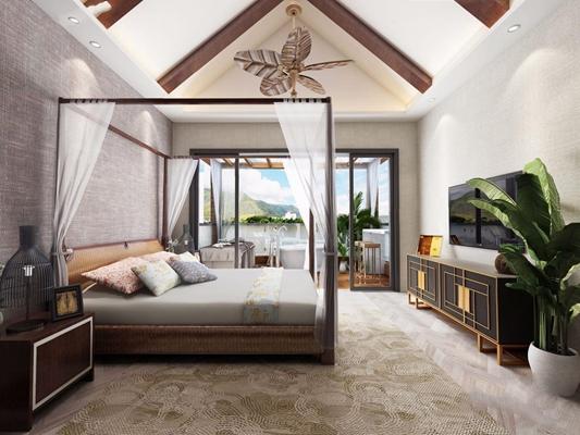 东南亚风格卧室 东南亚卧室 双人床 床头柜 电视柜 吊灯 按摩床 浴缸 洗手台 绿植