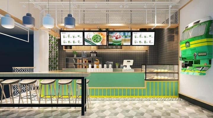 现代奶茶店 现代餐饮 奶茶店 收银台 单头吊灯 吧台 吧椅