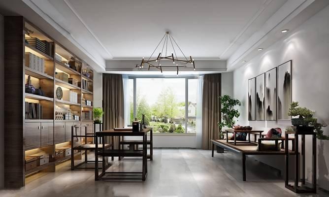 中式书房3D模型 桌椅组合 吊灯 书架