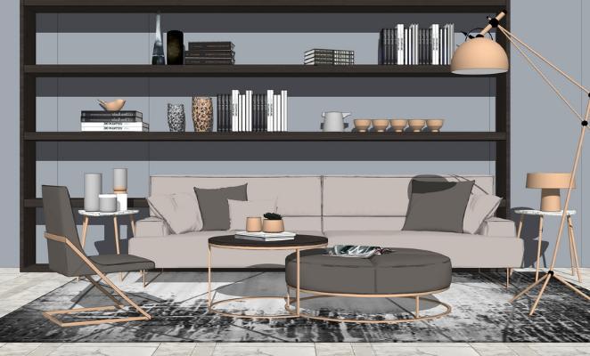 现代沙发茶几书架组合SU模型