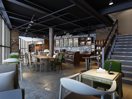 工业风休闲吧 工业风咖啡厅 餐桌椅 吧台 吊柜 吊灯