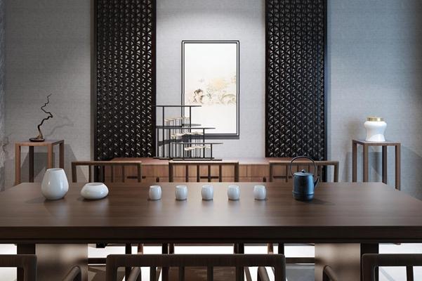 新中式餐桌椅餐边柜组合 新中式餐桌椅 边柜 茶壶 茶杯 挂画 器皿 边几