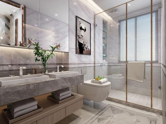 新中式卫生间 新中式卫浴 洗手台 马桶 淋浴间 挂画