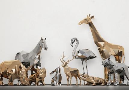 动物摆件 现代饰品摆件 几何动物