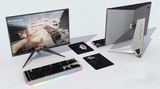 现代外星人电脑显示器键盘鼠标3d模型