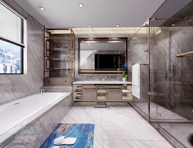 现代卫生间 现代卫浴 卫浴柜 洗脸台 浴缸 马桶 淋浴房 毛巾架 镜子 地毯