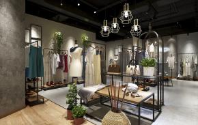 工业风女服装店3D模型